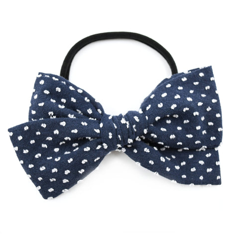 Navy Blue & White Swiss Dot Rona Bow