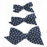 Navy Blue & White Swiss Dot Evy Bow, Newborn Headband or Clip