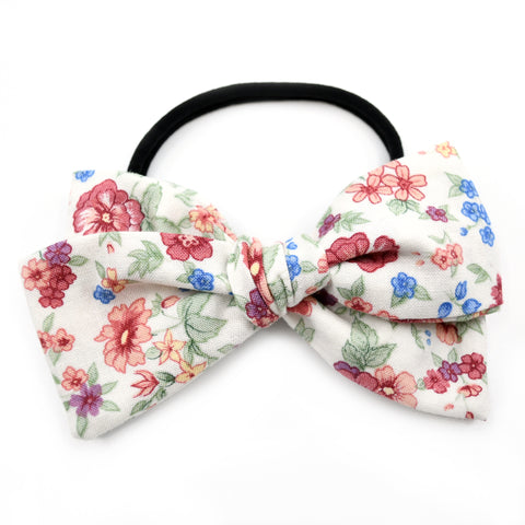 Vintage Ivory, Blue & Rust Floral Rona Bow