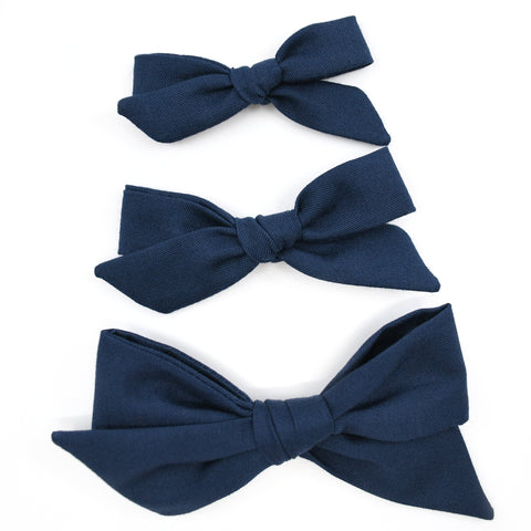 Navy Blue Evy Bow, Newborn Headband or Clip