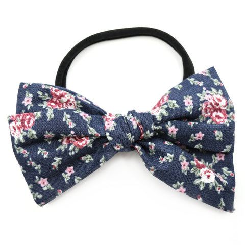 Navy Blue & Maroon Floral Rona Bow