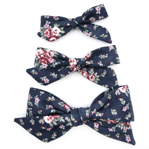 Navy Blue & Maroon Floral Evy Bow, Newborn Headband or Clip