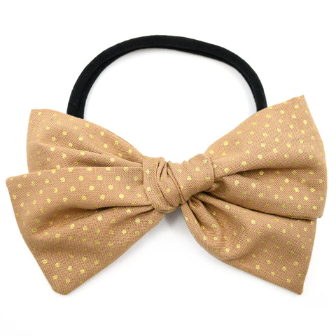 Camel & Gold Polka Dot Rona Bow