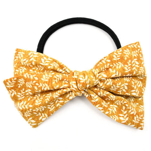 Mustard & White Leaves Rona Bow