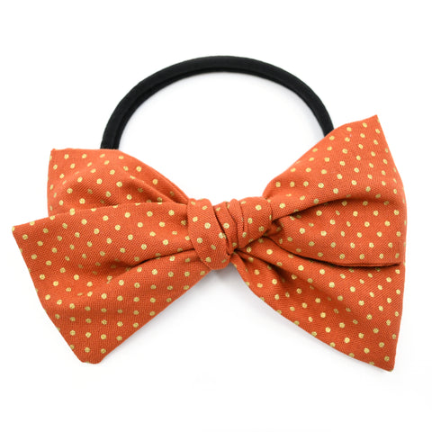 Pumpkin Spice & Gold Polka Dot Rona Bow