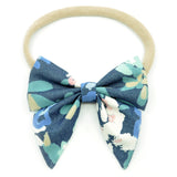 Denim Blue Floral Elle Bow, Toddler Hairclip
