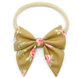 Hazelnut & Small Pink Floral Elle Bow, Toddler Hairclip