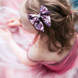 Ice Blue & Purple Floral Elle Bow, Toddler Hairclip