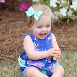 Vintage Pink & Blue Floral Evy Bow, Infant Headband