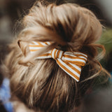 Campfire Orange Linen Evy Bow, Newborn Headband