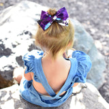 Dark Periwinkle Floral Rona Bow