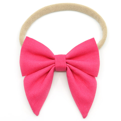 Magenta Linen Elle Bow, Toddler Hairclip