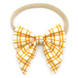 Mustard Plaid Elle Bow, Toddler Hairclip