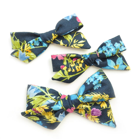 Navy Tropical Floral Evy Bow, Infant Headband