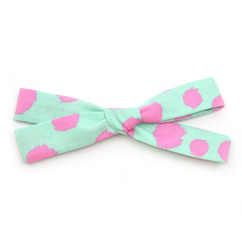 Mint & Hot Pink Polka Dot Leni Bow
