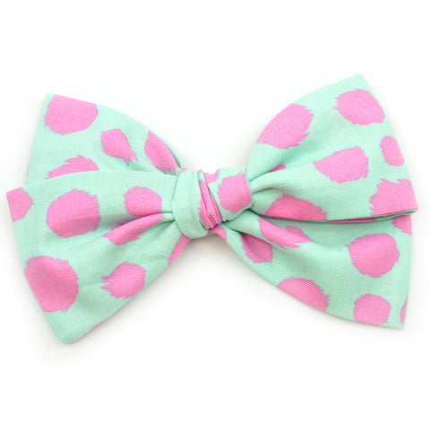 Mint & Hot Pink Polka Dot Rona Bow