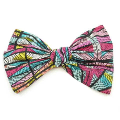 Neon Geometric Stripes Rona Bow