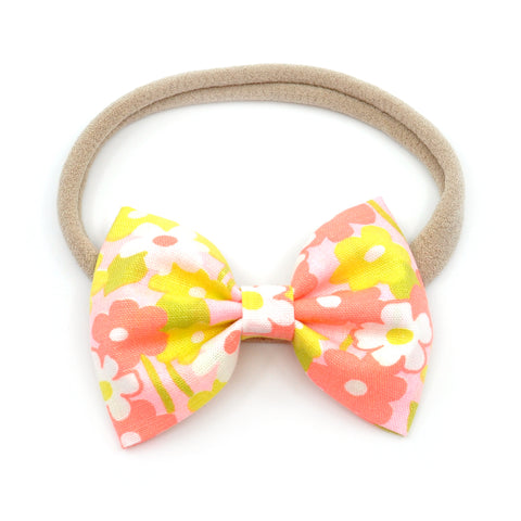 Vintage Neon Peachy Floral Belle Bow, Tuxedo Bow