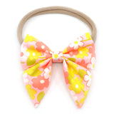 Vintage Neon Peachy Floral Elle Bow, Toddler Hairclip