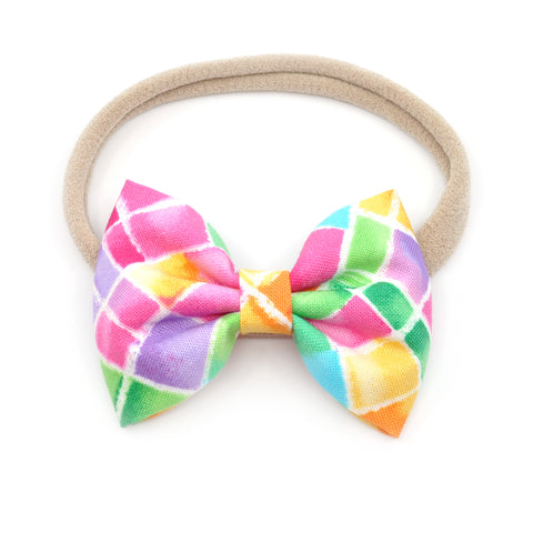 Neon Stained Glass Belle Bow, Tuxedo Bow
