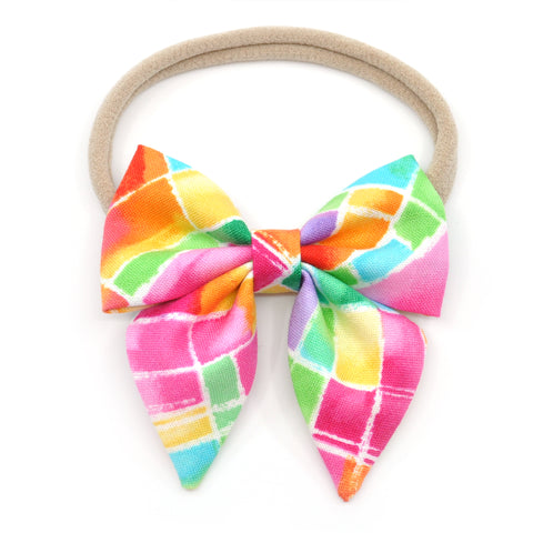 Neon Stained Glass Elle Bow, Toddler Hairclip