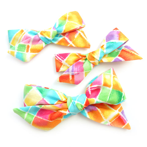 Neon Stained Glass Evy Bow, Infant Headband