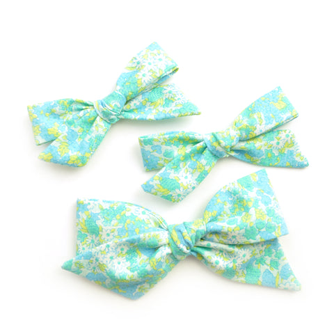 Neon Teal Floral Evy Bow