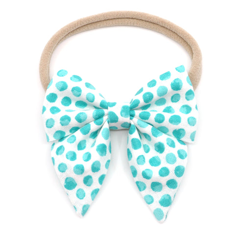 Neon Teal Polka Dot Elle Bow, Toddler Hairclip