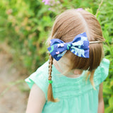 Ice Blue & Purple Floral Rona Bow