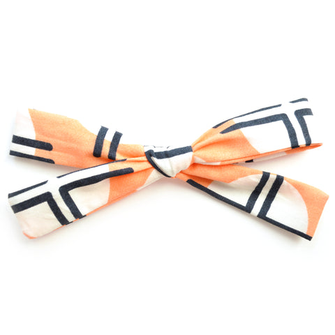 Geometric Peach Leni Bow