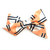Geometric Peach Large Evy Bow