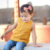 Mustard & White Leaves Bow Tie OR Anna Bow