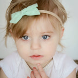Neon Teal Polka Dot Evy Bow, Infant Headband