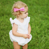 Rifle Paper Co Gold Polka Dot in Hunter Leni Bow, Infant or Toddler Hair Bow