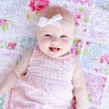 Pink Scattered Polka Dot Evy Bow, Newborn Headband