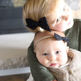 White & Black Flowers Evy Bow, Newborn Headband or Clip