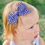 Mint & Periwinkle Plaid Evy Bow, Newborn Headband or Clip