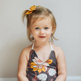 Charcoal Harvest Floral Evy Bow, Newborn Headband