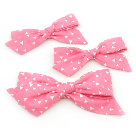 Pink & White Triangles Evy Bow