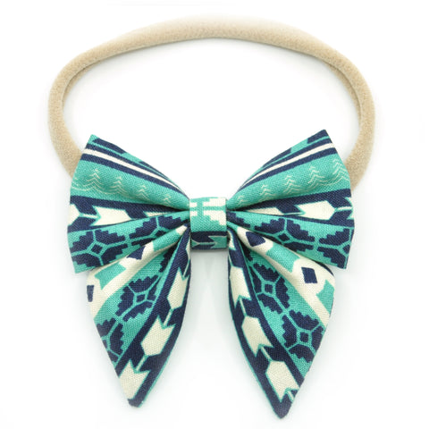 Teal Aztec Elle Bow, Toddler Hairclip