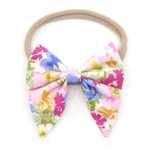 Vintage Pink & Blue Floral Elle Bow, Toddler Hairclip
