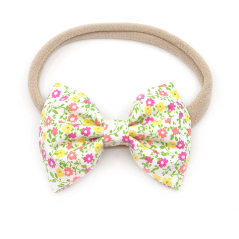 Tiny Yellow & Pink Floral Belle Bow, Tuxedo Bow