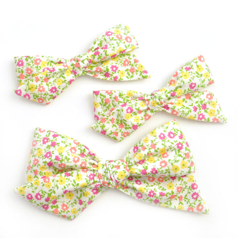 Tiny Pink & Yellow Floral Evy Bow, Infant Headband