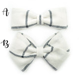 Linen Bow Tie OR Anna Bow in 11 colors, Newborn Headband or Clip