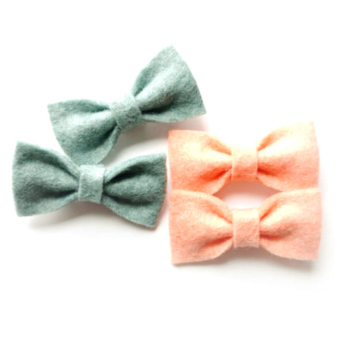 Mini-Felt Piggy Tail Bows, Bang Clips, Tiny Baby Bow Set