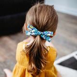 Denim Blue Floral Leni Bow