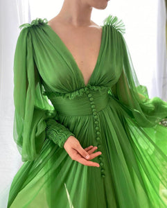 Draped Kelly Green Gown