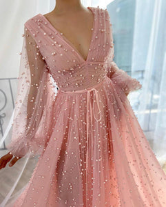 Pink Mimosa Beaded Gown