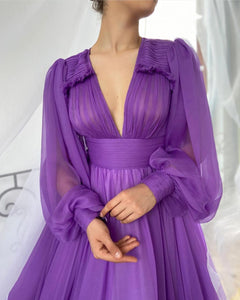 Draped Royal Purple Gown