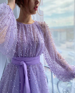Shiny Purple Beaded Gown